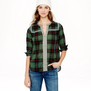 *Rare* J. CREW Green Plaid Embroidered Peasant Top